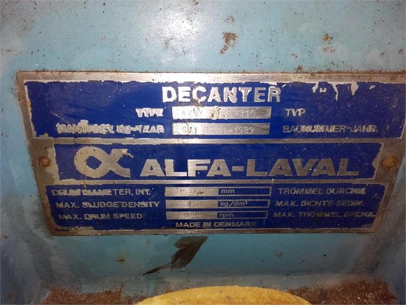 Alfa-Laval NX 718B-31G decanter centrifuge, 316SS.