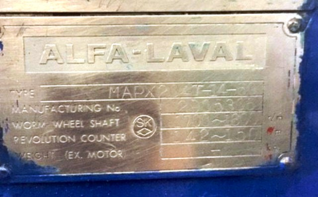 Alfa-Laval MAPX 204 T-14-60 oil purifier, 316SS.