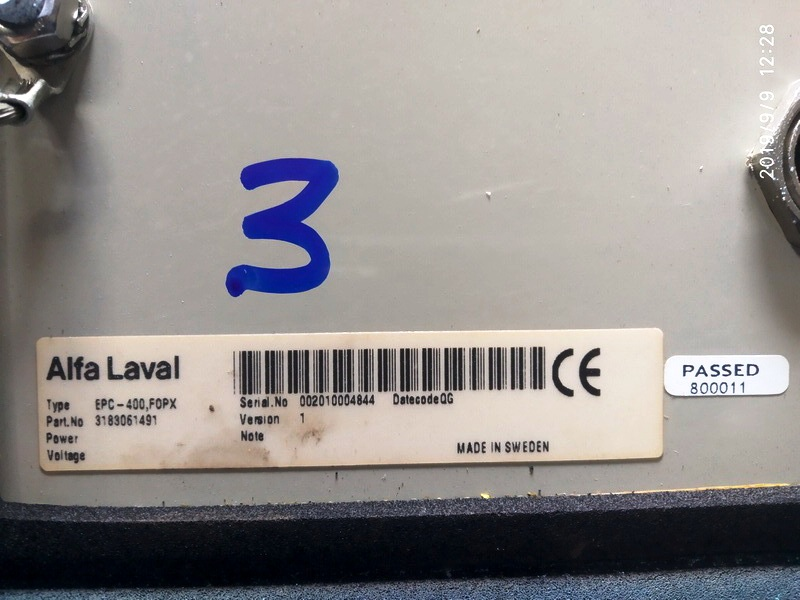 (5) Alfa-Laval EPC-400 control units.