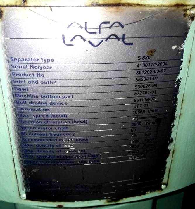 (2) Alfa-Laval S-830 fuel/lube oil purifiers, 316SS.