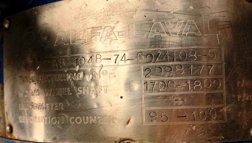 Alfa-Laval MAB 104B-74-60 coolant clarifier, SS.