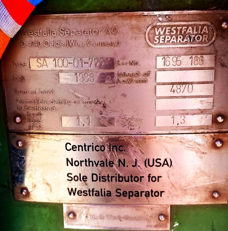 (4) Westfalia SA 100-01-777 separators, 316SS.