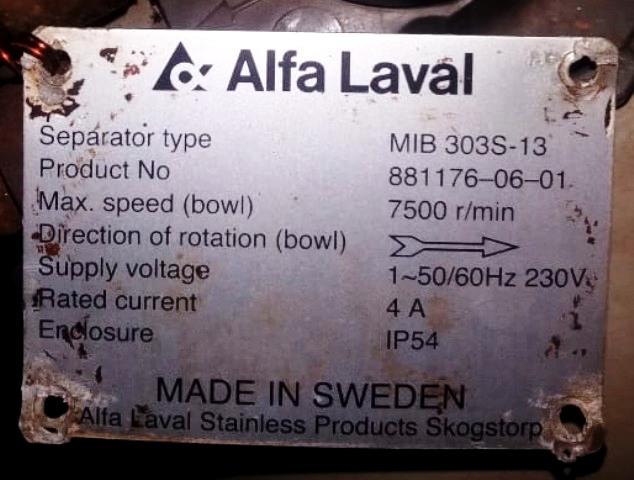 Alfa-Laval EMMIE MIB 303S-33 oil purifier module.