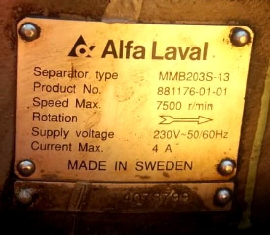 Alfa-Laval EMMIE  MMB 203S-13 oil purifier module.
