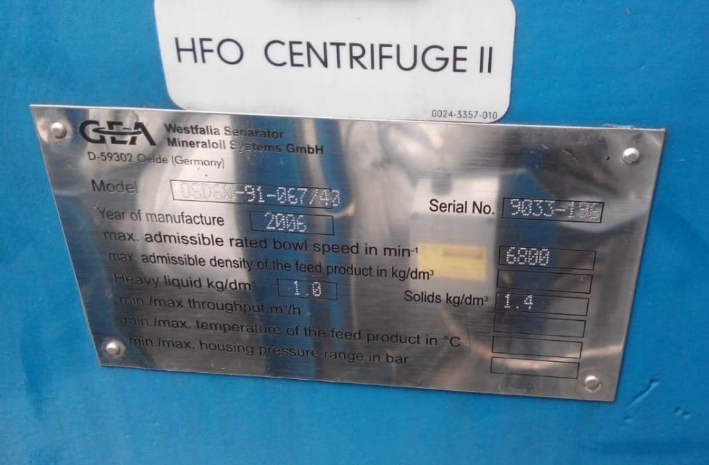 (2) Westfalia OSD 60-91-067/40 HFO purifier modules, SS.