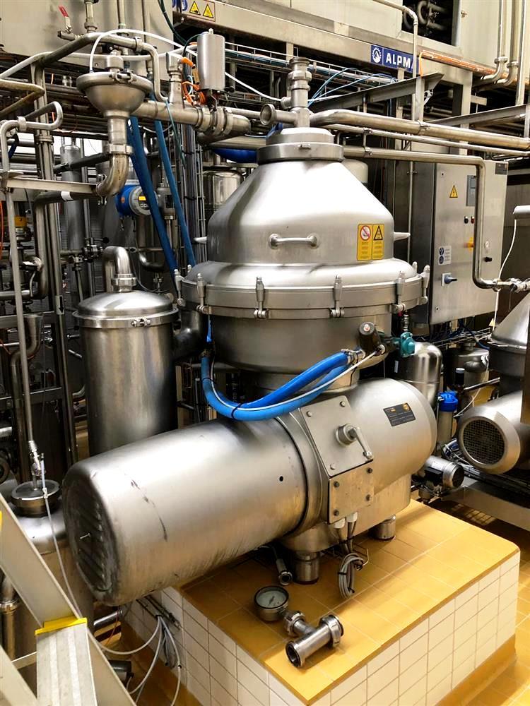 Alfa-Laval MRPX 214 TGV-74T warm milk separator, 316SS.