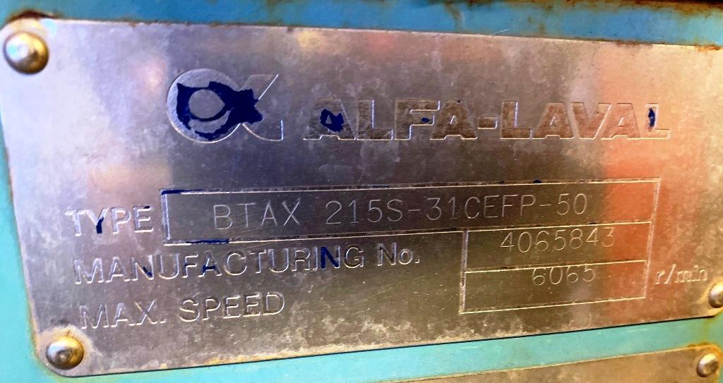 Alfa-Laval BTAX 215S-31 CEFP hermetic ultra-clarifier, 316SS.