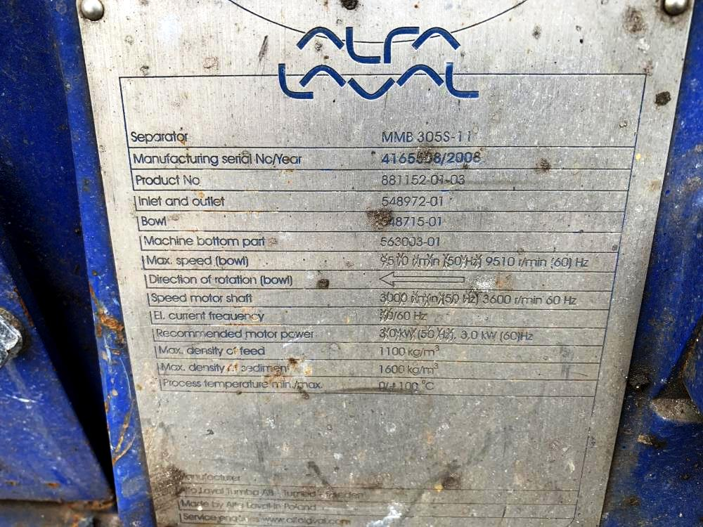 Alfa-Laval MMB 305S-11 lube oil purifier, SS.