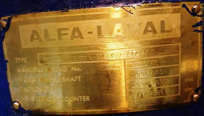 (2) Alfa-Laval BRPX 313 XGD-74 oil concentrators, 316SS.
