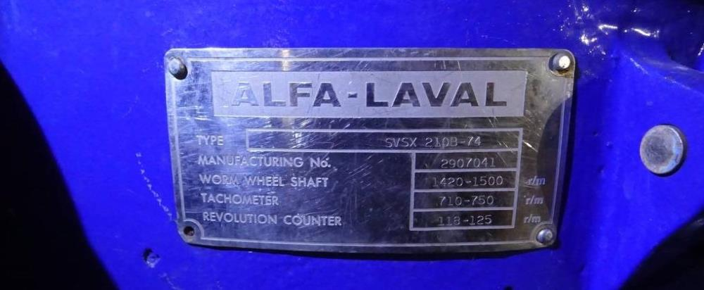 (2) Alfa-Laval SVSX 210B-74 concentrators, 316SS.