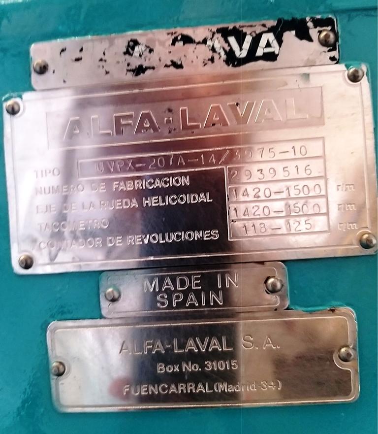 Alfa-Laval UVPX 207A-14 oil purifier, 316SS.