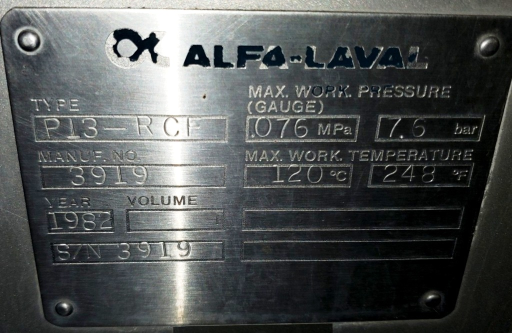Alfa-Laval P13-RCF HTST pasteurization system, SS.