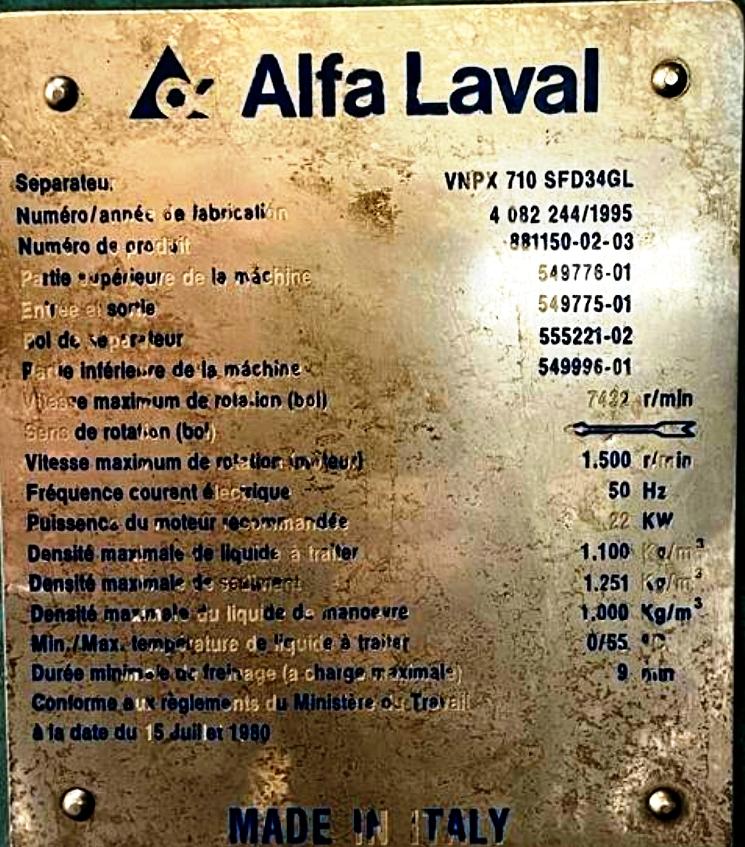 Alfa-Laval VNPX 710 SFD-34GL clarifier centrifuge, 316SS.