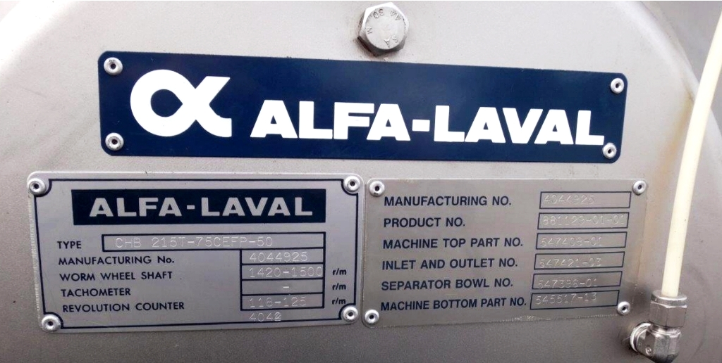 Alfa-Laval CHB 215T-75CEFP-50 solid bowl separator, 316SS.