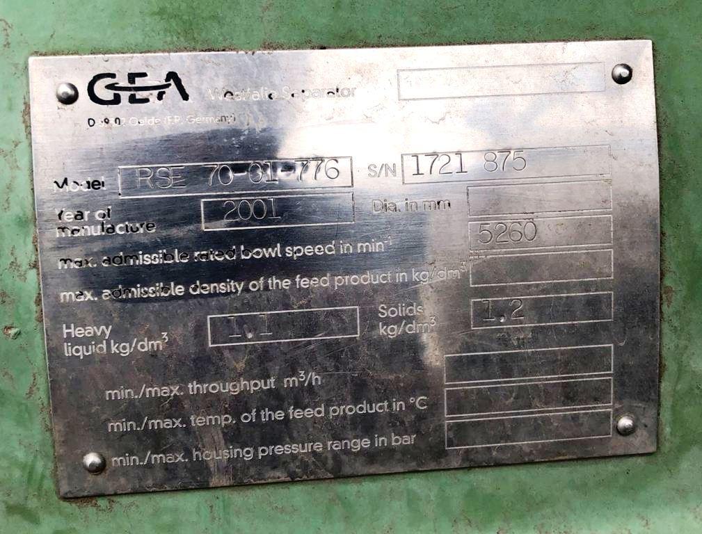 (2) Westfalia RSE 70-01-776 veg oil separators, 316SS.