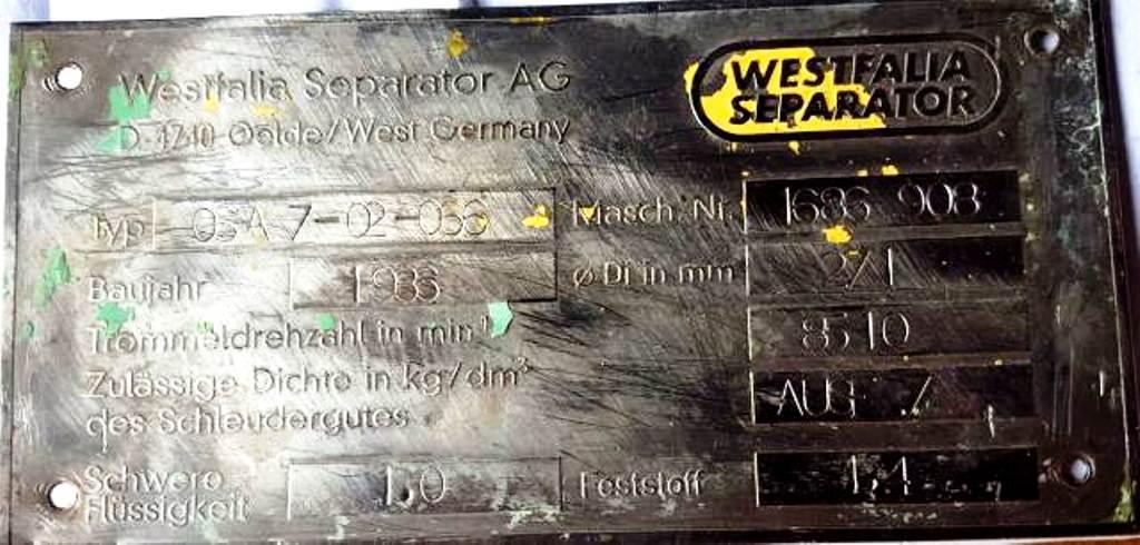 (3) Westfalia OSA 7-02-066 oil purifiers, SS.