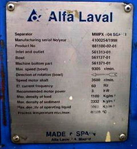 (2) Alfa-Laval MMPX 404 SGP-11 oil purifiers, 316SS.