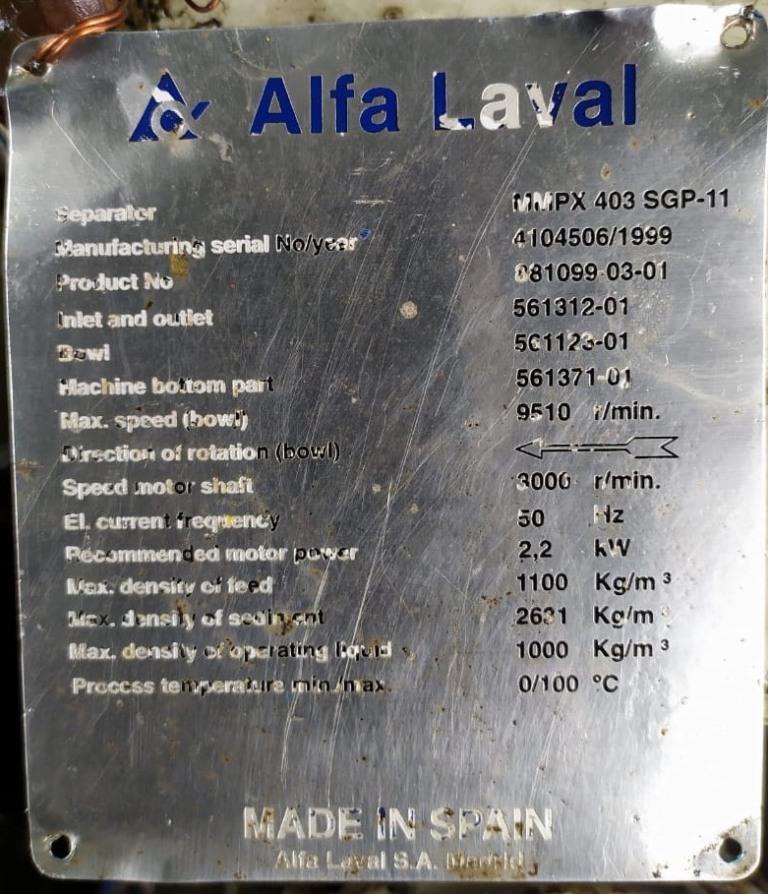 (2) Alfa-Laval MMPX 403 SGP-11 oil purifiers, 316SS.