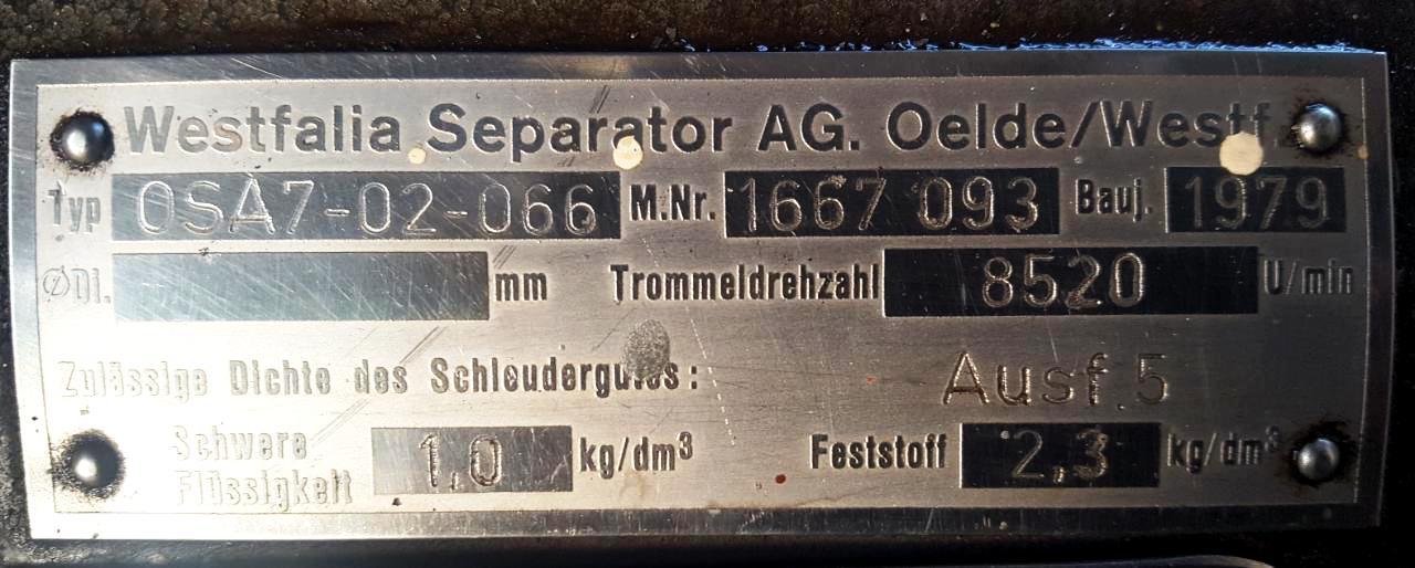 (2) Westfalia OSA 7-02-066 oil purifiers, SS.