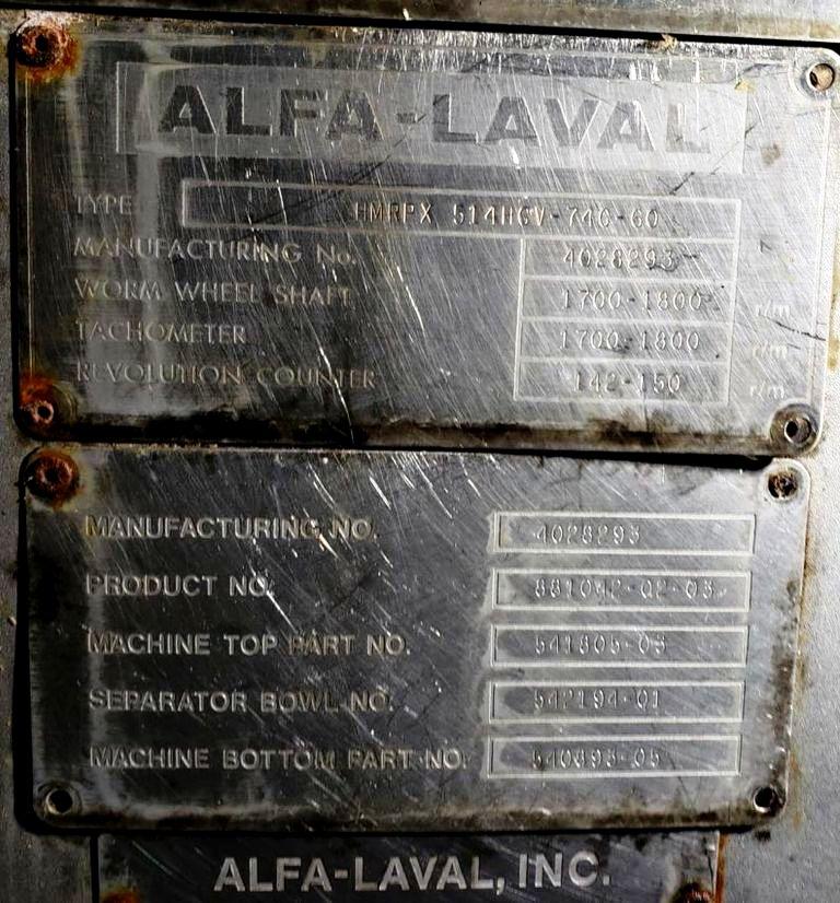 Alfa-Laval HMRPX 514 HGV-74C warm milk separator, 316SS.