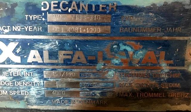Alfa-Laval AVNX 718B-31G decanter centrifuge, 316SS.