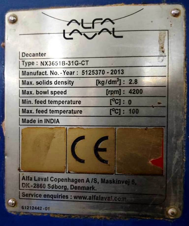 Alfa-Laval NX 3651B-31G-CT decanter centrifuge, 316SS.