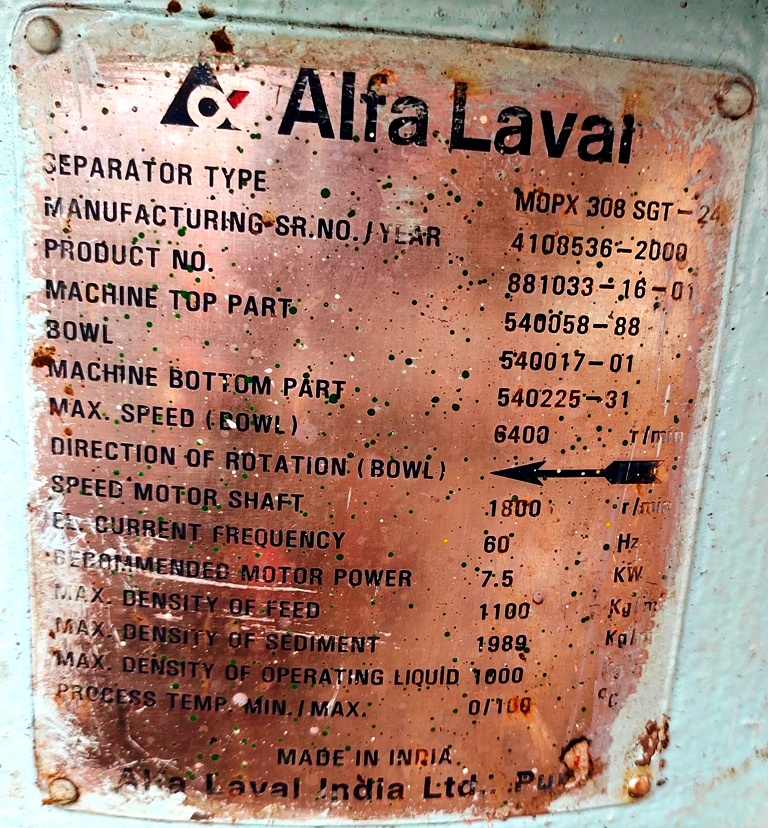 Alfa-Laval MOPX 308 SGT-24 oil purifier, 316SS.