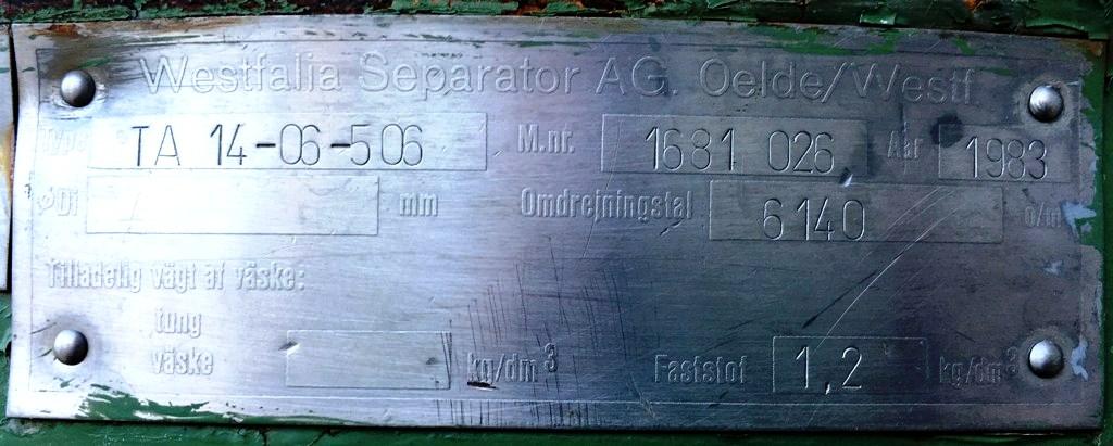 (2) Westfalia TA 14-06-506 solid bowl clarifiers, 316SS.