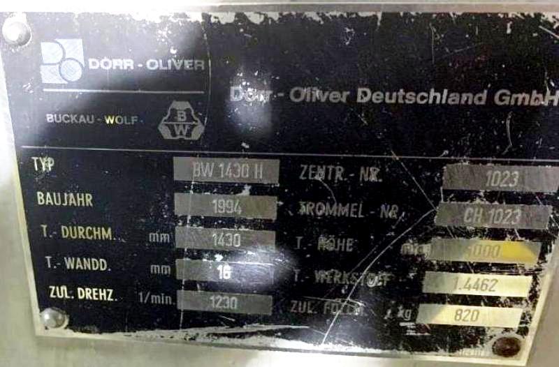 (2) Dorr-Oliver BW1430H peeler centrifuge, 316SS.