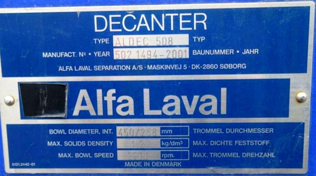 Alfa-Laval ALDEC 508 decanter centrifuge, 316SS.